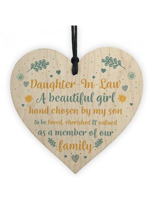 Daughter In Law Gift Handmade Wooden Heart Plaque Birthday