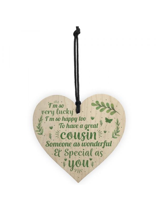 Handmade Special Cousin Gift Wood Heart Plaque Birthday Keepsake