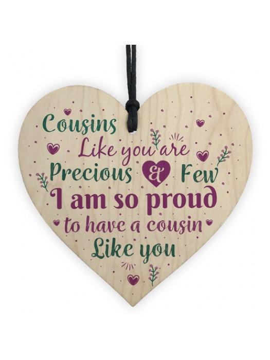 Cousin Gifts Handmade Wood Heart Family Plaque Birthday Keepsake
