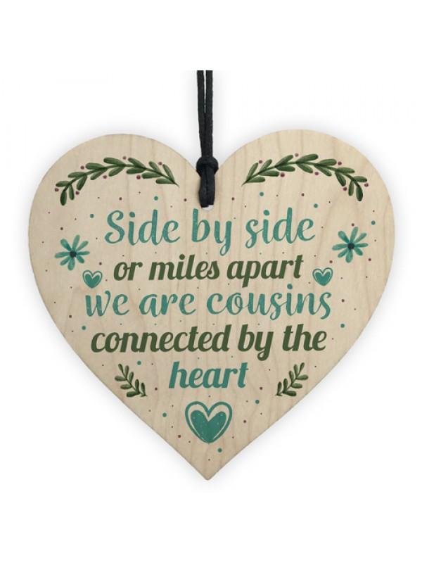 Cousin Birthday Gift Wooden Heart Plaque Keepsake Family Friend