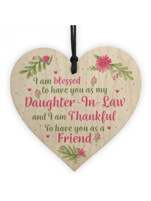 Daughter In Law Plaques Wooden Heart Birthday Card Wedding GIFT