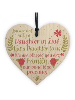 Daughter In Law Plaque Sayings Wood Heart Birthday Wedding GIFTS