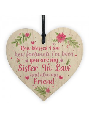 Sister In Law Gift Wooden Heart Plaque Keepsake Birthday Gift