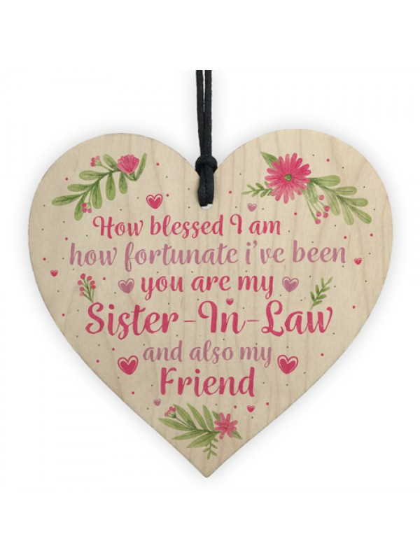 Sister In Law Gift Wooden Heart Plaque Keepsake Birthday