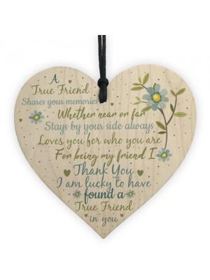 Friendship Gift Handmade Wooden Heart Plaque Best Friend Sign