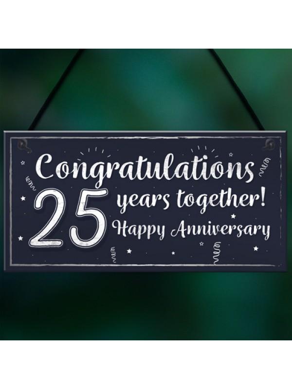 Congratulations 25th Wedding Anniversary Gift Plaque Silver