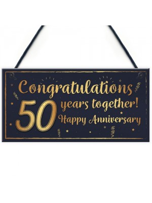 Congratulations 50th Wedding Anniversary Gift Plaque Gold Gift