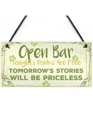 Open Bar Signs Home Garden Bar Plaque Pub Kitchen Man Cave Sign