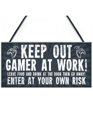 Funny Sign Keep Out Gamer At Work Man Cave Door Wall Plaque