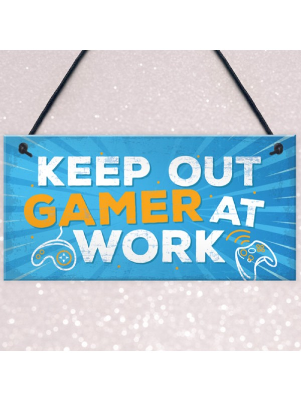 Keep Out Gamer At Work Man Cave Door Plaque Dad Brother Gifts