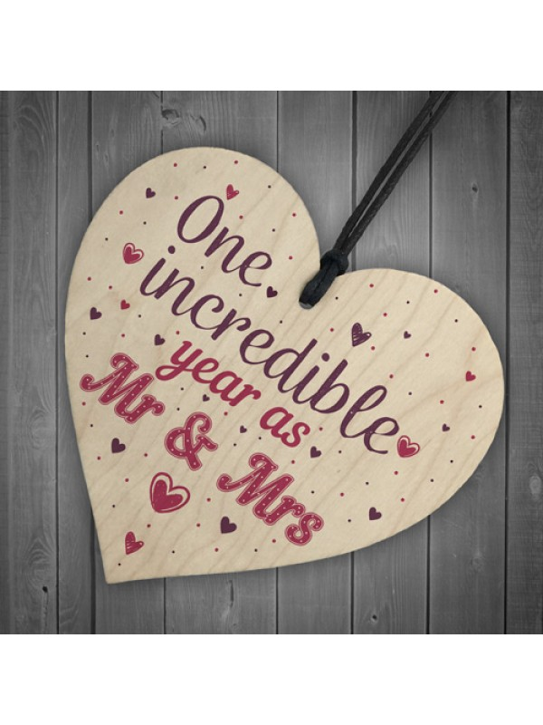 1st Wedding Anniversary Gift Wooden Heart Mr And Mrs One Year