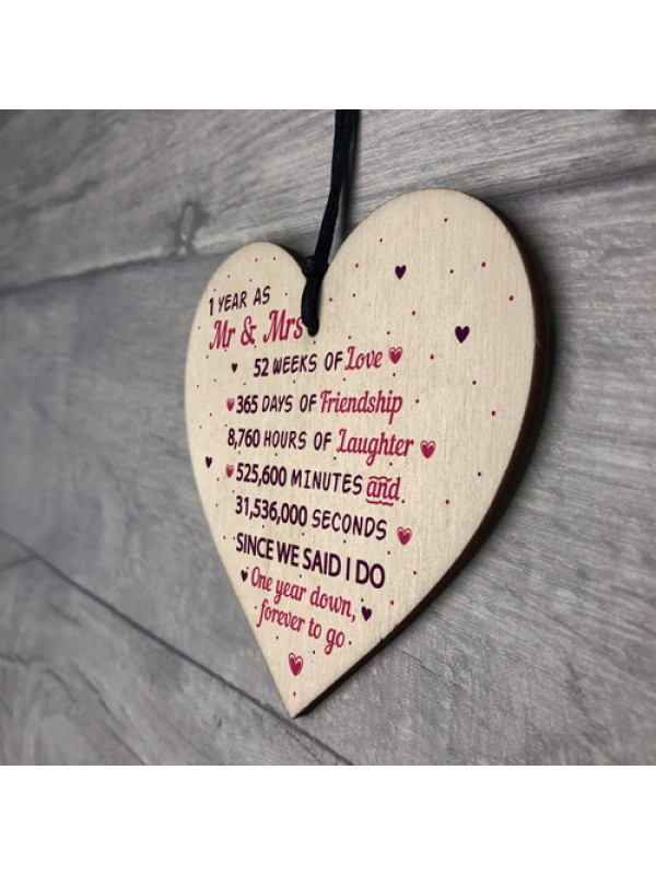 1st Wedding Anniversary Gift Wood Heart Mr And Mrs Wedding Gift
