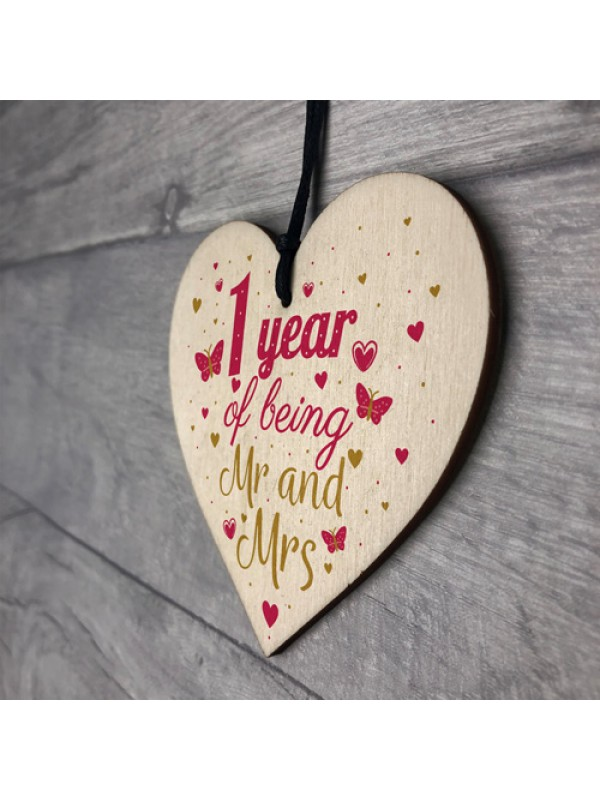 1 Year Anniversary Wooden Heart Plaque Mr And Mrs Wedding Gift