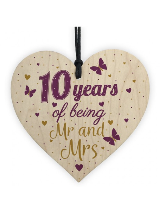10 Year Anniversary Gift Wood Heart Sign Mr And Mrs 10th Plaque
