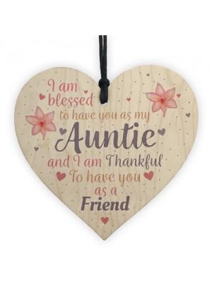 Handmade Auntie Gift Wooden Heart Plaque Keepsake Mothers Day