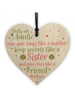 Special Auntie Sister Gift Handmade Wood Heart Birthday Plaque