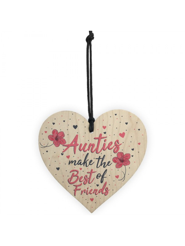 Auntie Gifts Best Friend Plaque Handmade Wood Heart Keepsake
