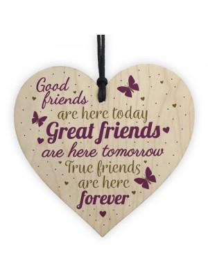 Best Friends Friendship Gifts Handmade Wood Heart Keepsake Sign