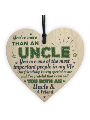 Uncle Friendship Gift Handmade Wood Heart Birthday Gift Plaque
