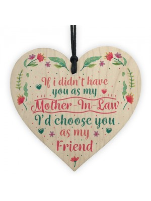 Mother In Law Friendship Birthday Thank You Gift Wood Heart Sign