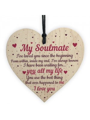 Soulmate Gifts Heart Plaque Anniversary Birthday I Love You Gift