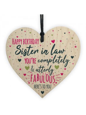 Birthday Sister In Law Gift Plaque Handmade Wooden Heart Sign