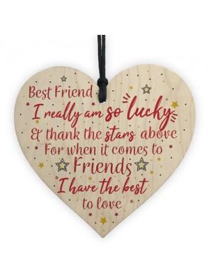 Handmade Best Friend Sign Friendship Plaque Wooden Heart Gift