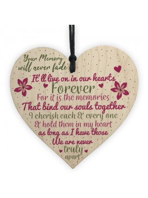 Wooden Heart Keepsake Memorial Plaques For Mum Dad Nan Grandad