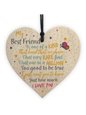 Friendship Gift Best Special Friend Wood Heart Sign Birthday