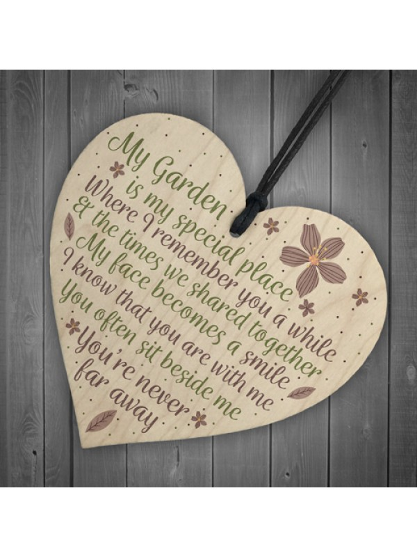 Wood Heart Garden Memorial Plaque Present Home Fence Shed Sign