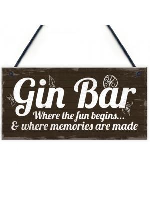 Gin Bar Sign Man Cave Bar Plaque Alcohol Novelty Shabby Gift