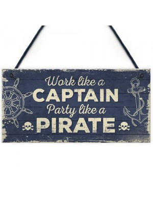 Funny Nautical Sign Captain Pirate Bar Pub Man Cave Plaque Gift
