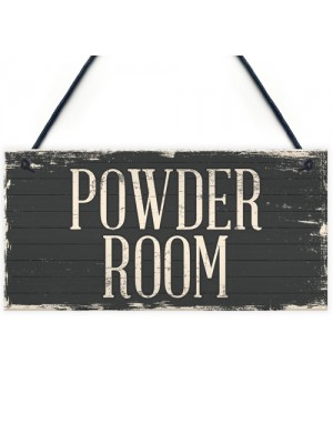 Vintage Powder Room Rustic Sign Wall Door Toilet Plaque
