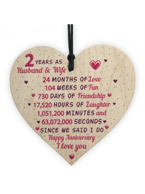 2nd Wedding Anniversary Gift Wooden Heart Cotton Wedding Gift
