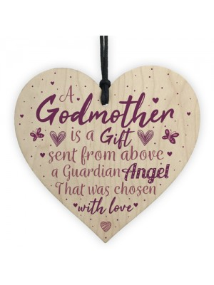 Thank You Godmother Wood Heart Godfather Godparent Gift