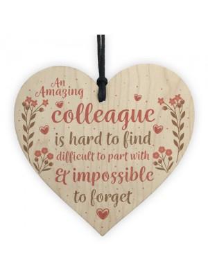 Friendship Colleague Gift Wooden Heart Plaque Work Friend Gift