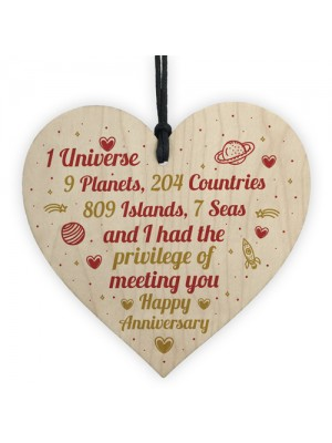 Happy Anniversary Gift Handmade Wooden Heart Plaque Gift For Her