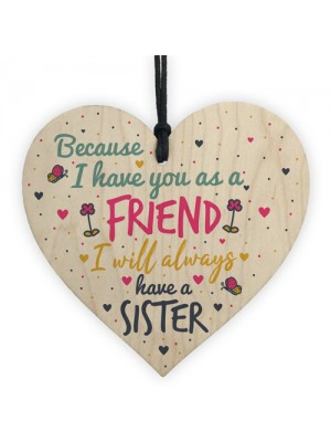 Best FRIEND Sister Gifts Wooden Heart Christmas Friendship Gift