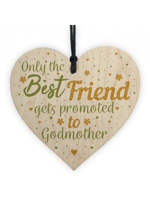 Godmother Gift Friendship Best Friend Christening Wood Heart
