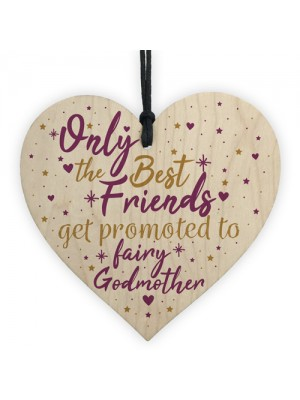 Best Friends Godmother Gift Christening Wooden Heart Plaque Gift