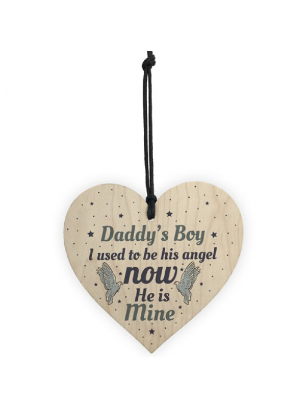 Daddys Boy Dad Memorial Heart Birthday Gifts For Garden Plaques