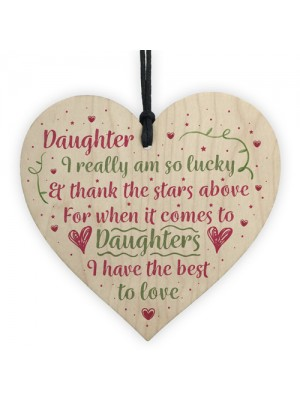 Handmade Gift For Daughter Wooden Heart Chic Birthday Plaque