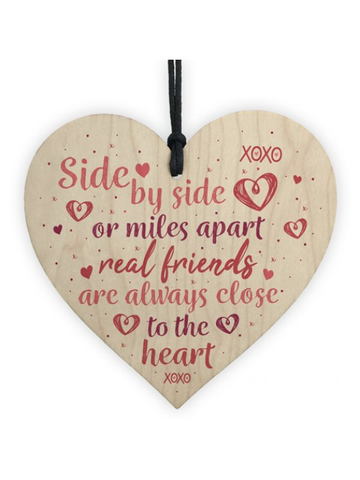Real Friends Friendship Handmade Gift Wood Heart Keepsake Plaque