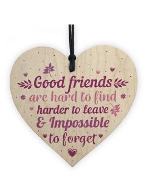 Best Friends Friendship Gift Handmade Wood Heart Plaque Keepsake