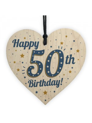 Handmade 50th Birthday Keepsake Wooden Heart Friendship Gift