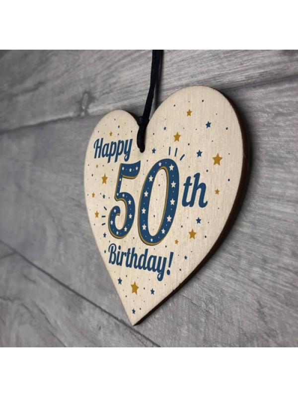 Handmade 50th Birthday Keepsake Wooden Heart Friendship Gift