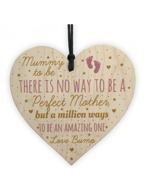 Mummy Mum To Be Present Baby Shower Wood Heart Plaque