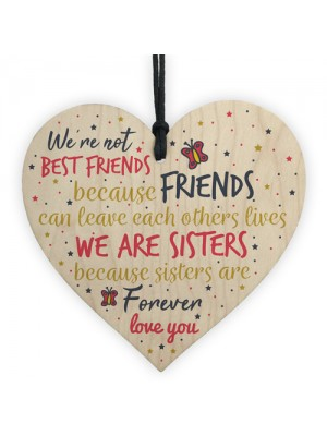 Thank You Sisters Friendship Plaques Wooden Heart Friend Gifts