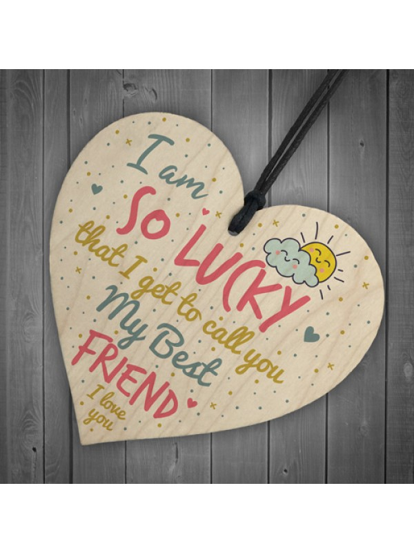 Thank You Best FRIEND Gifts Wood Heart Christmas Friendship Gift