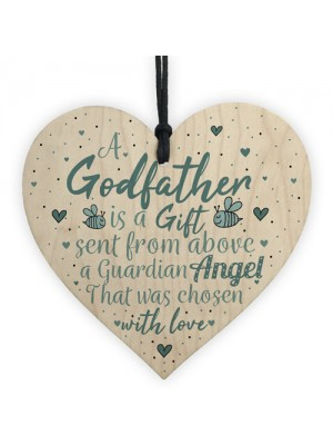 Thank You Godfather Wood Heart Godmother Godparent Gift